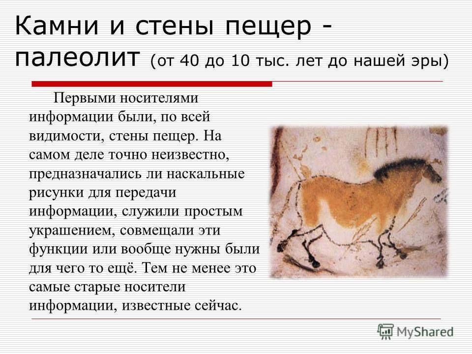 Первыми носителями информации были, по всей видимости, стены пещер. На самом деле точно неизвестно, предназначались ли наскальные рисунки для передачи информации, служили простым украшением, совмещали эти функции или вообще нужны были для чего то ещё