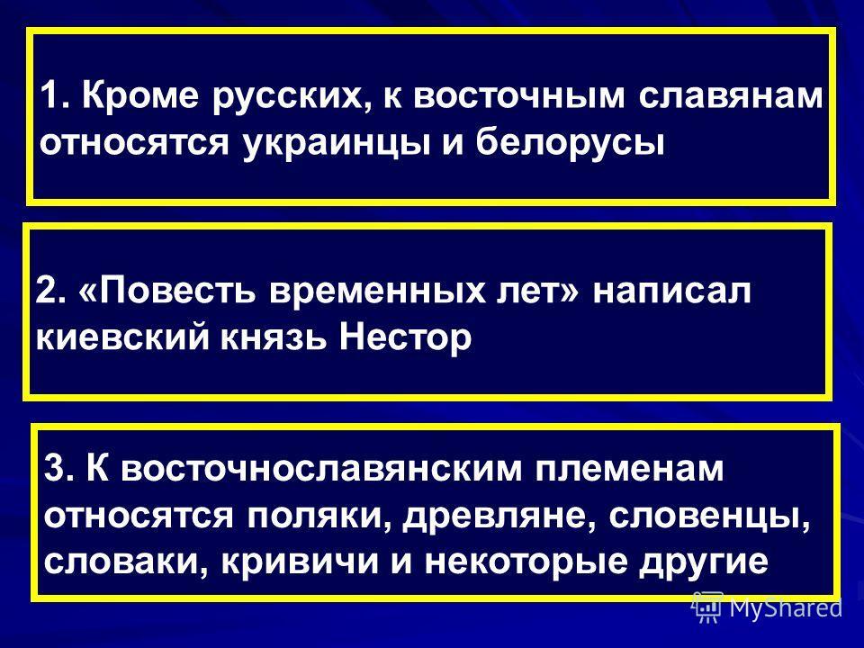 1. Кроме русских, к восточным славянам относятся украинцы и белорусы 2. «Повесть временных лет» написал киевский князь Нестор 3. К восточнославянским племенам относятся поляки, древляне, словенцы, словаки, кривичи и некоторые другие