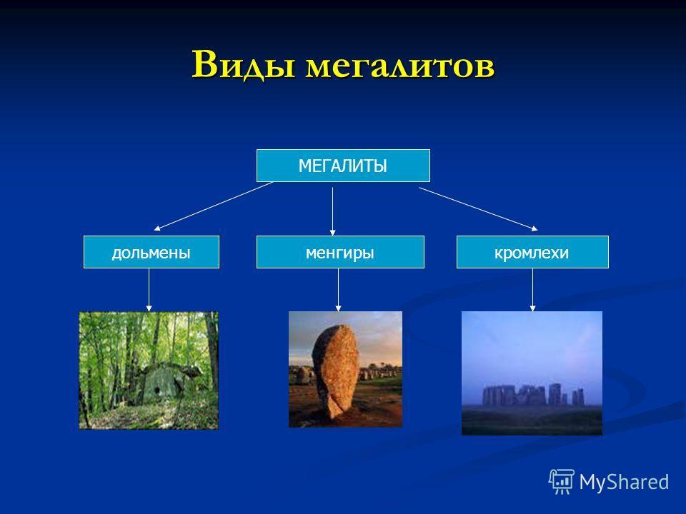 Виды мегалитов дольмены МЕГАЛИТЫ менгирыкромлехи