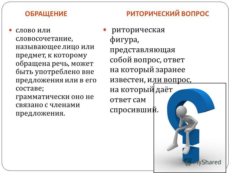 ОБРАЩЕНИЕРИТОРИЧЕСКИЙ ВОПРОС слово или словосочетание, называющее лицо или предмет, к которому обращена речь, может быть употреблено вне предложения или в его составе ; грамматически оно не связано с членами предложения. риторическая фигура, представ