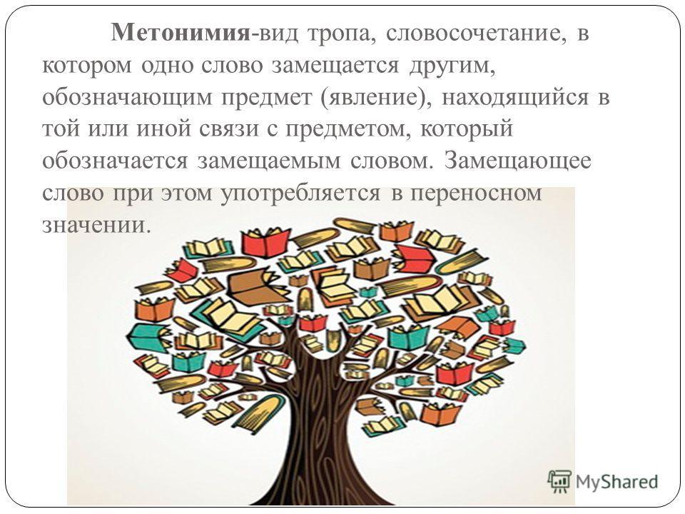 Метонимия-вид тропа, словосочетание, в котором одно слово замещается другим, обозначающим предмет (явление), находящийся в той или иной связи с предметом, который обозначается замещаемым словом. Замещающее слово при этом употребляется в переносном зн
