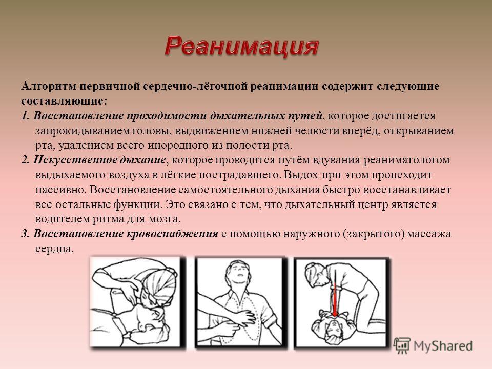 Алгоритм первичной сердечно - лёгочной реанимации содержит следующие составляющие : 1. Восстановление проходимости дыхательных путей, которое достигается запрокидыванием головы, выдвижением нижней челюсти вперёд, открыванием рта, удалением всего инор