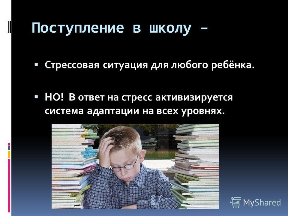 Поступление в школу – Стрессовая ситуация для любого ребёнка. НО! В ответ на стресс активизируется система адаптации на всех уровнях.