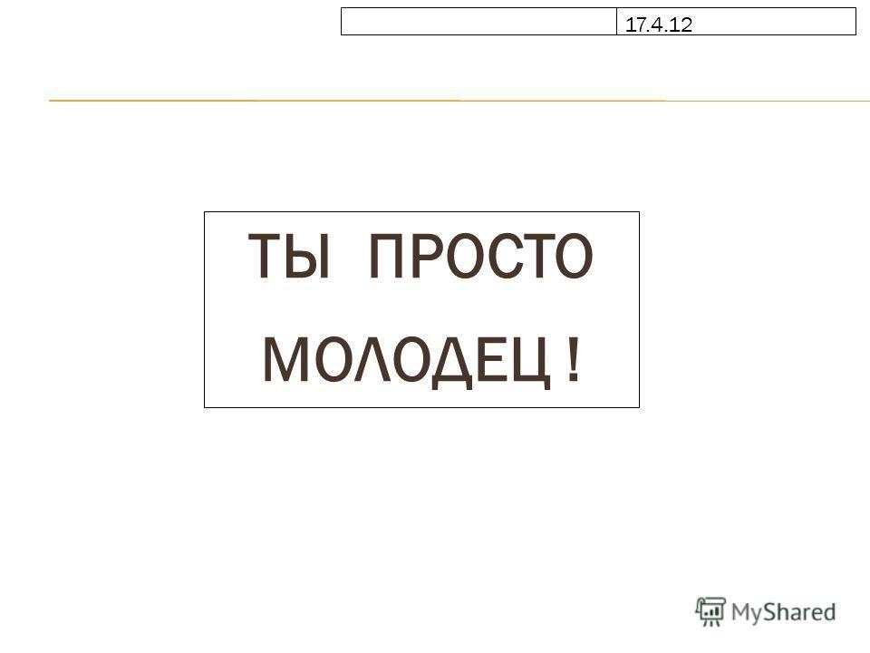 17.4.12 ТЫ ПРОСТО МОЛОДЕЦ !
