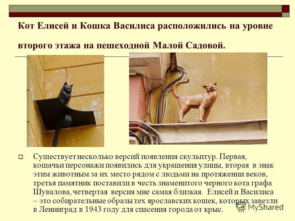Кот Елисей и Кошка Василиса расположились на уровне второго этажа на пешеходной Малой Садовой. Существует несколько версий появления скульптур. Первая, кошачьи персонажи появились для украшения улицы, вторая в знак этим животным за их место рядом с л