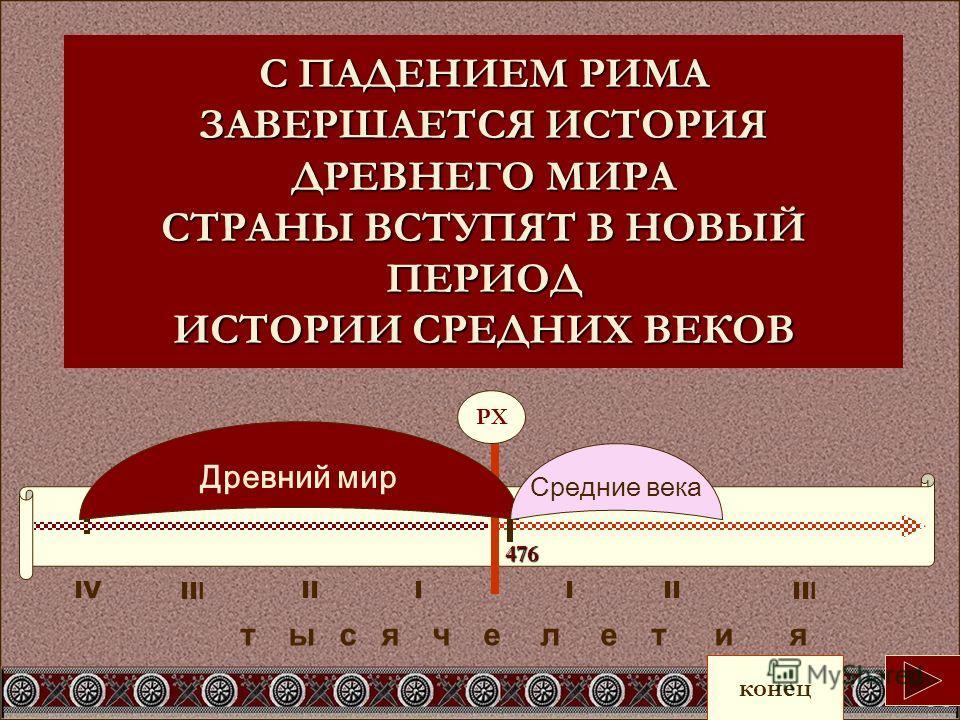 С ПАДЕНИЕМ РИМА ЗАВЕРШАЕТСЯ ИСТОРИЯ ДРЕВНЕГО МИРА СТРАНЫ ВСТУПЯТ В НОВЫЙ ПЕРИОД ИСТОРИИ СРЕДНИХ ВЕКОВ IVI т ы с я ч е л е т и я II Древний мир Средние века конец РХ 476 II I IIIII I