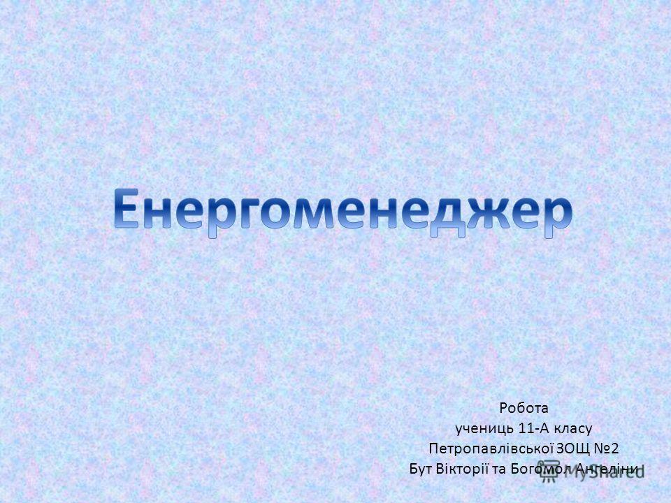 Робота учениць 11-А класу Петропавлівської ЗОЩ 2 Бут Вікторії та Богомол Ангеліни