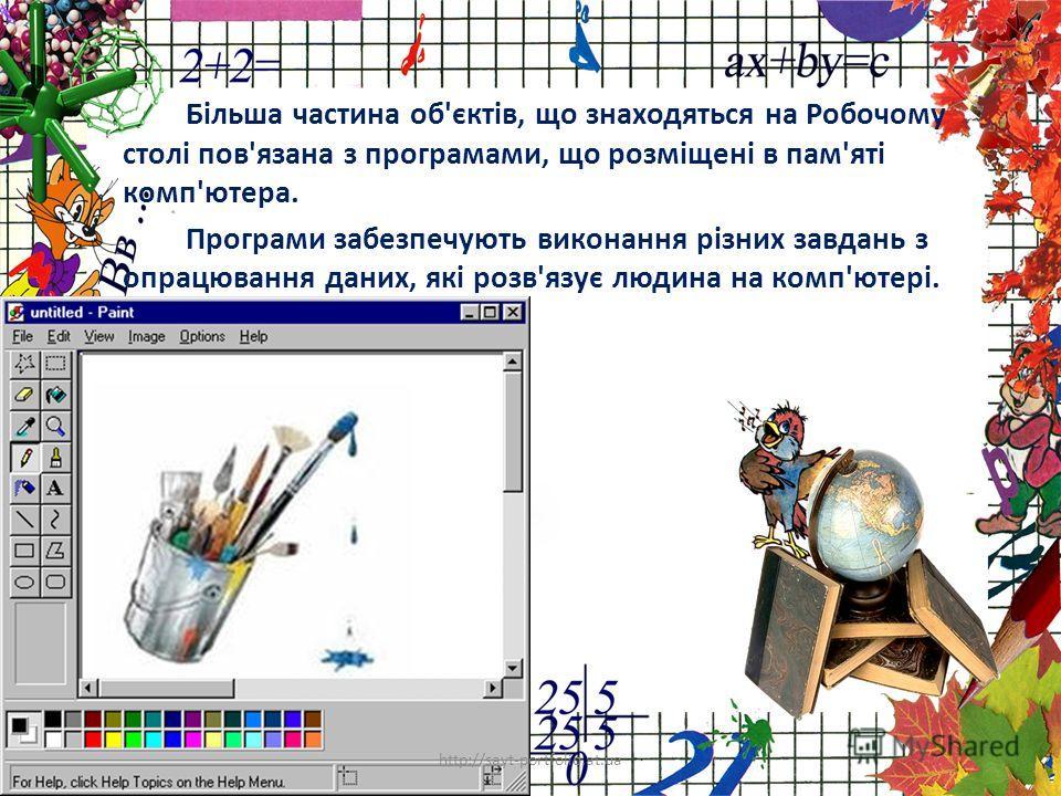 Більша частина об'єктів, що знаходяться на Робочому столі пов'язана з програмами, що розміщені в пам'яті комп'ютера. Програми забезпечують виконання різних завдань з опрацювання даних, які розв'язує людина на комп'ютері. http://sayt-portfolio.at.ua 4