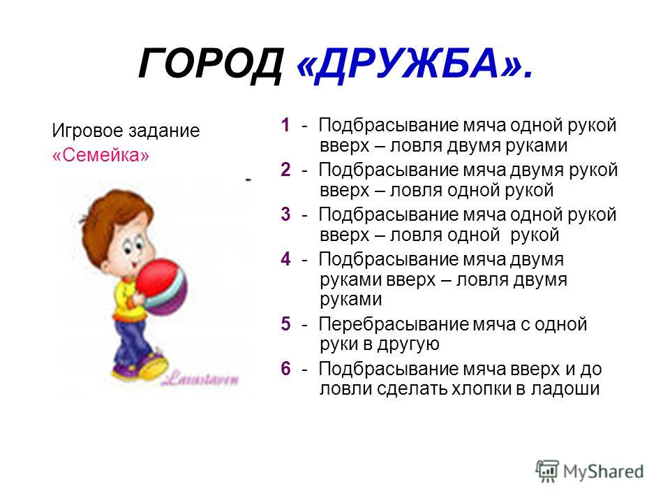 ГОРОД «ДРУЖБА». Игровое задание «Семейка» 1 - Подбрасывание мяча одной рукой вверх – ловля двумя руками 2 - Подбрасывание мяча двумя рукой вверх – ловля одной рукой 3 - Подбрасывание мяча одной рукой вверх – ловля одной рукой 4 - Подбрасывание мяча д