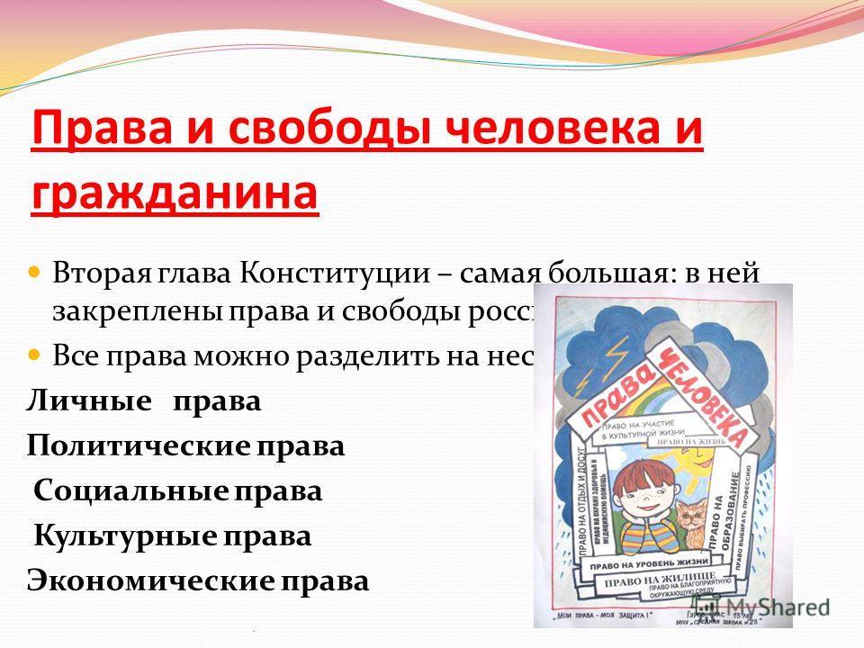 Права и свободы человека и гражданина Вторая глава Конституции – самая большая: в ней закреплены права и свободы россиян. Все права можно разделить на несколько групп: Личные права Политические права Социальные права Культурные права Экономические пр