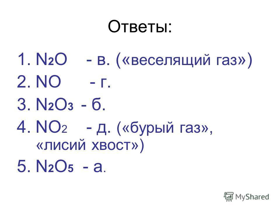 Ответы: 1.N 2 O - в. (« веселящий газ ») 2.NO - г. 3.N 2 O 3 - б. 4.NO 2 - д. («бурый газ», «лисий хвост») 5.N 2 O 5 - а.