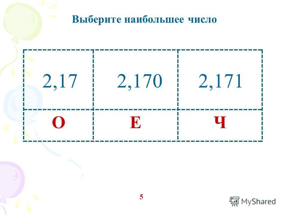 Выберите наибольшее число 5 ЧЕО 2,172,1702,171