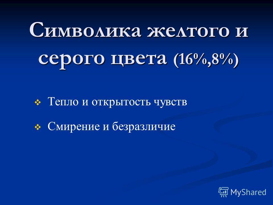 Символика желтого и серого цвета (16%,8%) Тепло и открытость чувств Смирение и безразличие