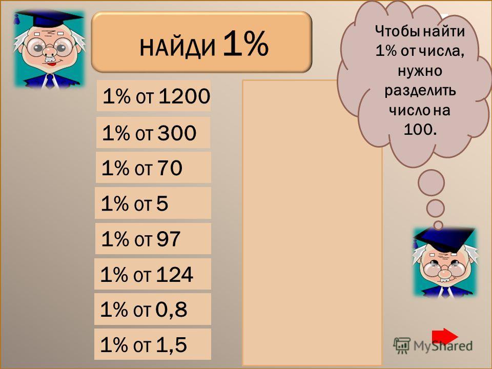 1% ОТ 0,8 1% ОТ 1,5 1% ОТ 97 1% ОТ 124 1% ОТ 300 1% ОТ 1200 1% ОТ 5 3 12 0,05 0,7 1% ОТ 70 НАЙДИ 1% 0,97 1,24 0,008 0,015 Чтобы найти 1% от числа, нужно разделить число на 100.