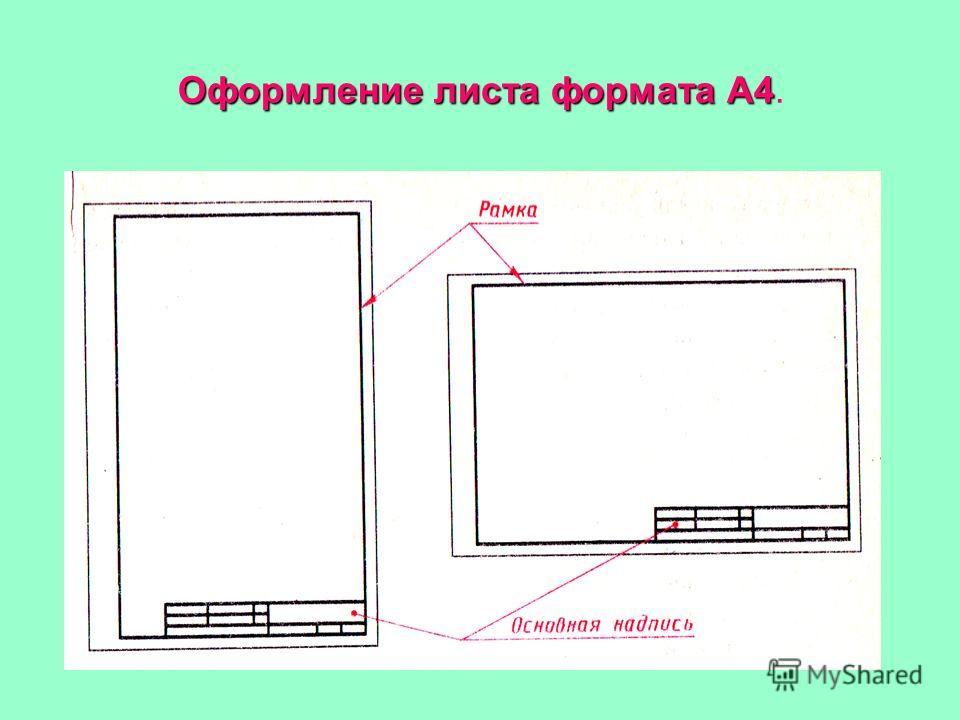 Оформление листа формата А4 Оформление листа формата А4.