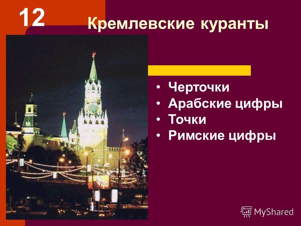 Кремлевские куранты Черточки Арабские цифры Точки Римские цифры 12