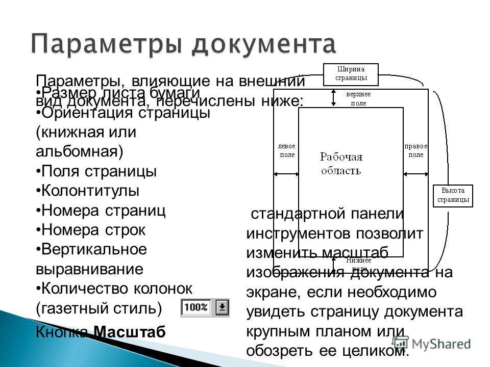 Размер листа бумаги Ориентация страницы (книжная или альбомная) Поля страницы Колонтитулы Номера страниц Номера строк Вертикальное выравнивание Количество колонок (газетный стиль) Параметры, влияющие на внешний вид документа, перечислены ниже: Кнопка