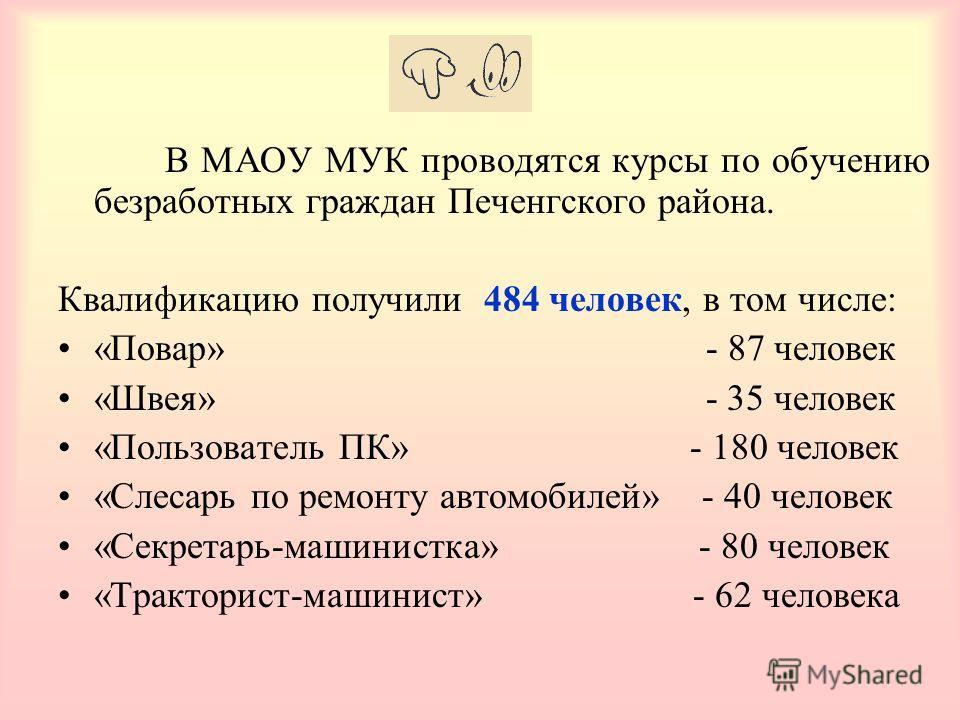В МАОУ МУК проводятся курсы по обучению безработных граждан Печенгского района. Квалификацию получили 484 человек, в том числе: «Повар» - 87 человек «Швея» - 35 человек «Пользователь ПК» - 180 человек «Слесарь по ремонту автомобилей» - 40 человек «Се