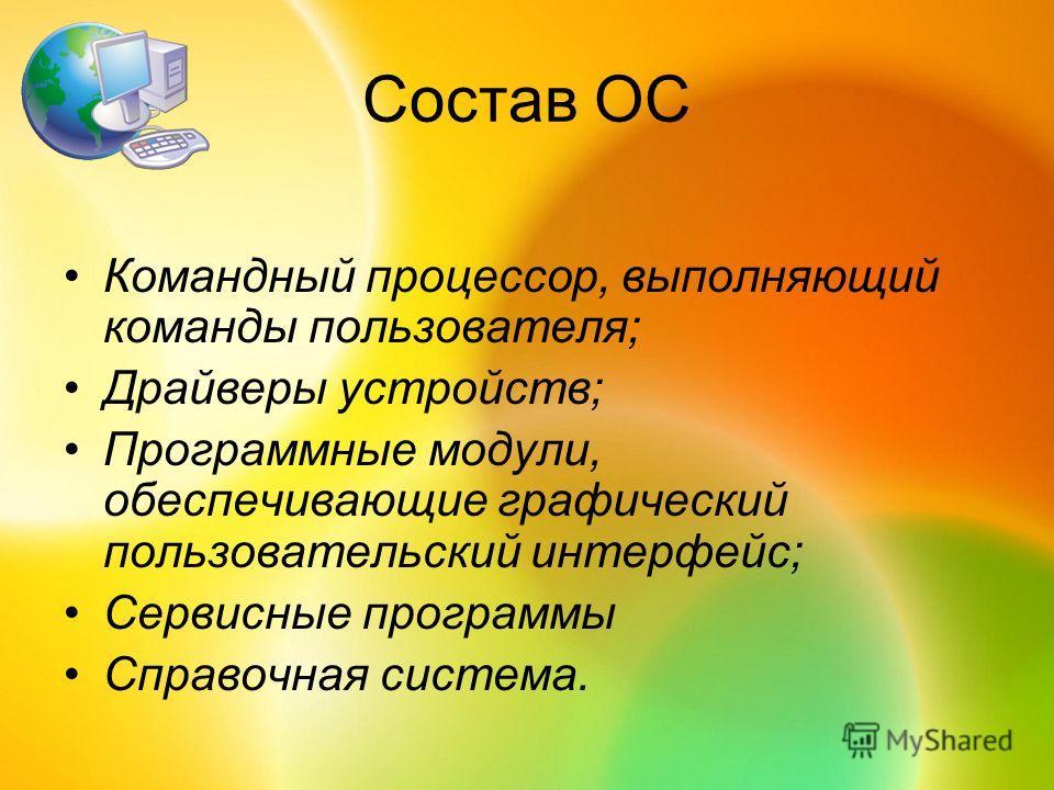 Состав ОС Командный процессор, выполняющий команды пользователя; Драйверы устройств; Программные модули, обеспечивающие графический пользовательский интерфейс; Сервисные программы Справочная система.