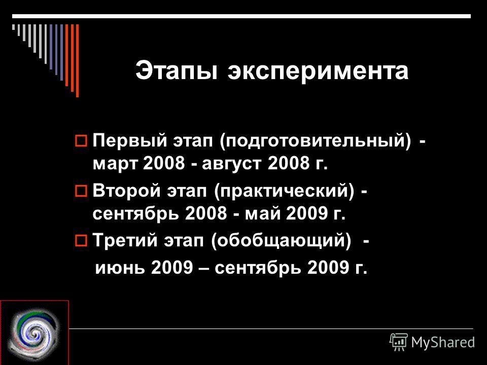 Этапы эксперимента Первый этап (подготовительный) - март 2008 - август 2008 г. Второй этап (практический) - сентябрь 2008 - май 2009 г. Третий этап (обобщающий) - июнь 2009 – сентябрь 2009 г.
