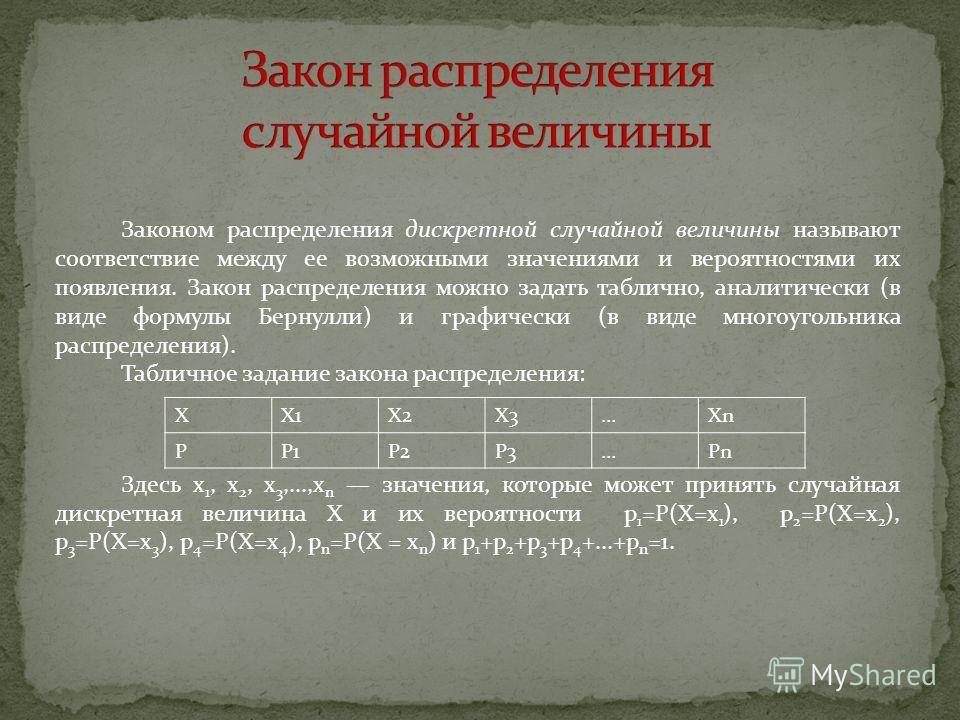 Законом распределения дискретной случайной величины называют соответствие между ее возможными значениями и вероятностями их появления. Закон распределения можно задать таблично, аналитически (в виде формулы Бернулли) и графически (в виде многоугольни