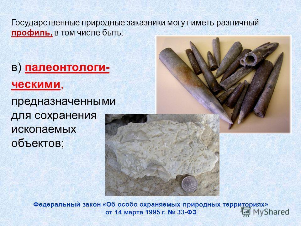 в) палеонтологи- ческими, предназначенными для сохранения ископаемых объектов; Государственные природные заказники могут иметь различный профиль, в том числе быть: Федеральный закон «Об особо охраняемых природных территориях» от 14 марта 1995 г. 33-Ф