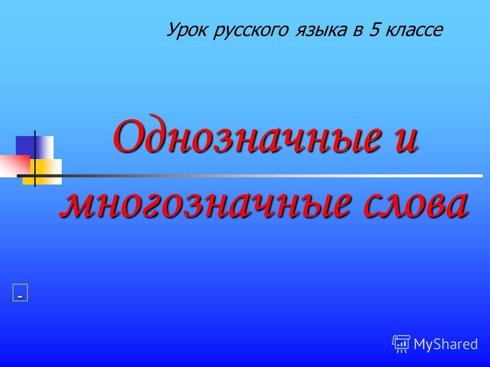Однозначные и многозначные слова Урок русского языка в 5 классе