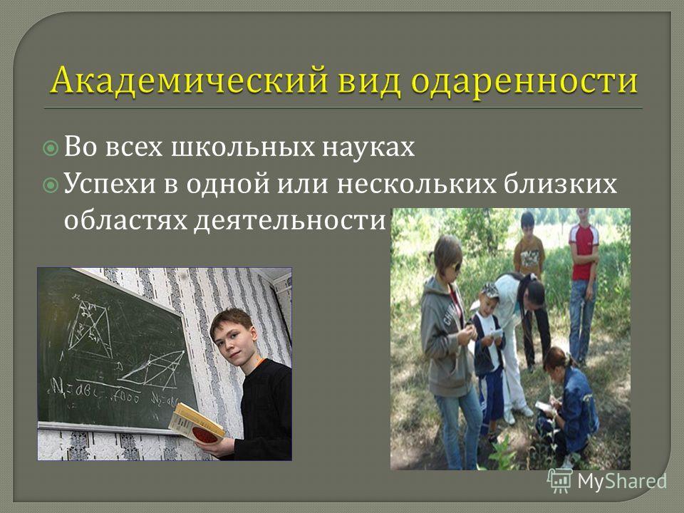 Во всех школьных науках Успехи в одной или нескольких близких областях деятельности
