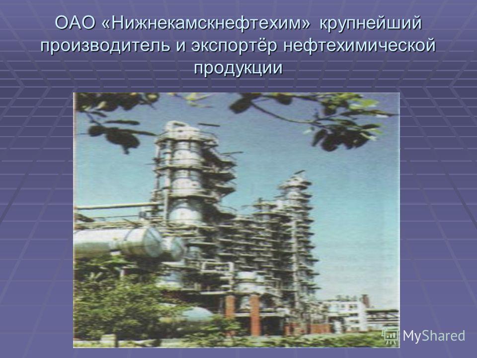 ОАО «Нижнекамскнефтехим» крупнейший производитель и экспортёр нефтехимической продукции