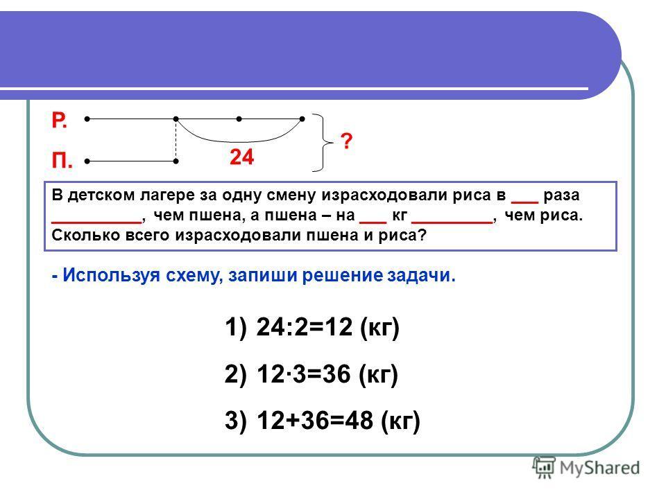 В детском лагере за одну смену израсходовали риса в ___ раза __________, чем пшена, а пшена – на ___ кг _________, чем риса. Сколько всего израсходовали пшена и риса? Р. П. 24 ? - Используя схему, запиши решение задачи. 1) 24:2=12 (кг) 2) 12·3=36 (кг