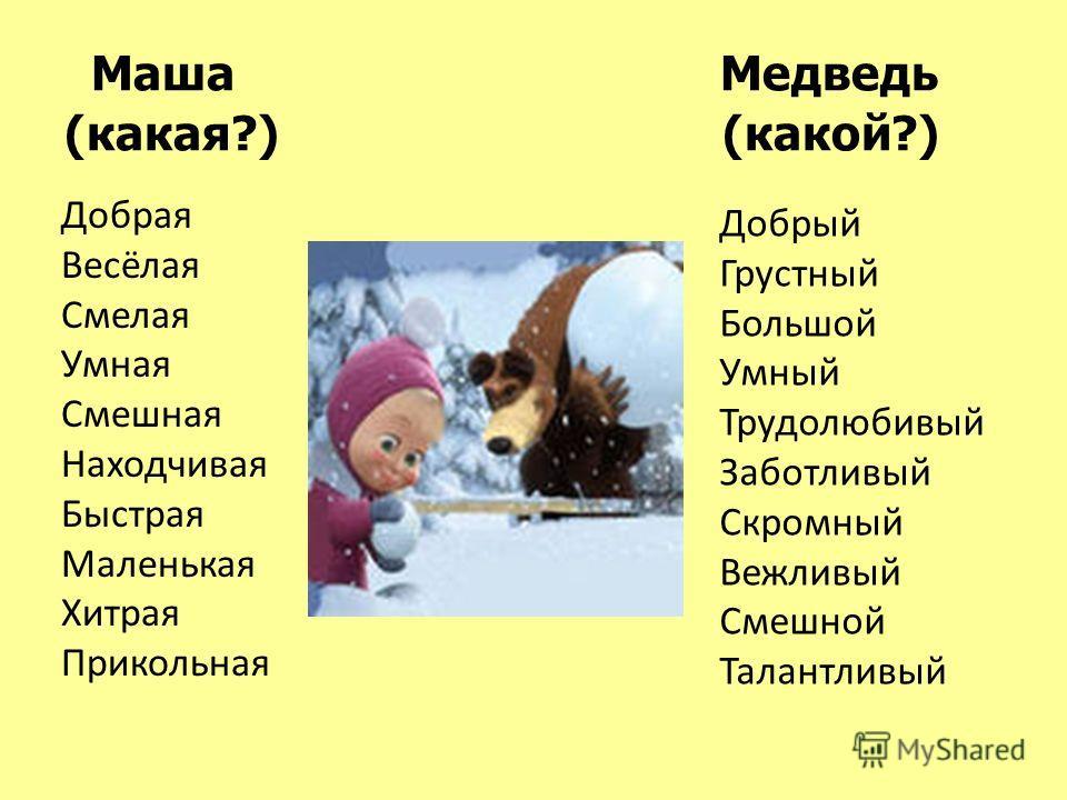 Маша Медведь (какая?) (какой?) Добрая Весёлая Смелая Умная Смешная Находчивая Быстрая Маленькая Хитрая Прикольная Добрый Грустный Большой Умный Трудолюбивый Заботливый Скромный Вежливый Смешной Талантливый
