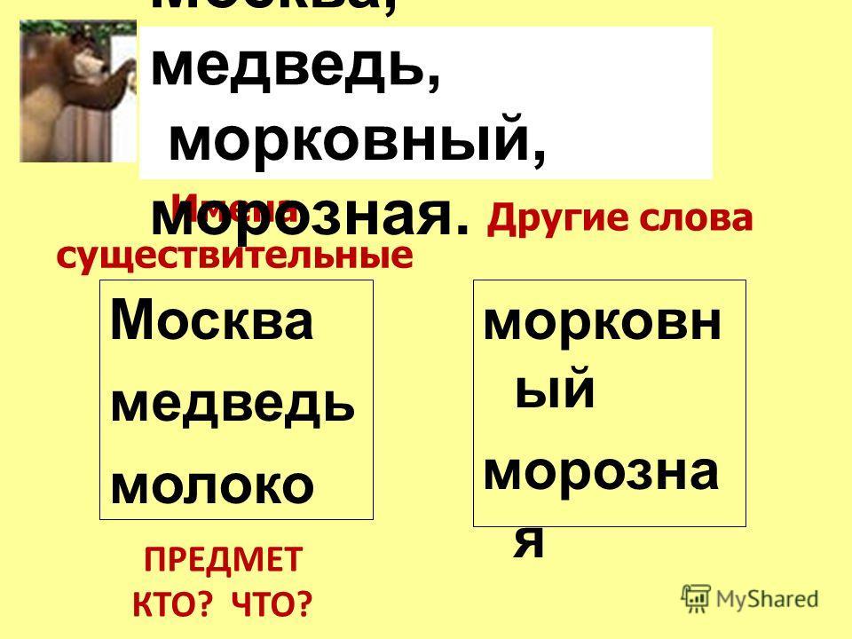 Москва, медведь, молоко, Имена существительные Москва медведь молоко Другие слова морковн ый морозна я ПРЕДМЕТ КТО? ЧТО? морковный, морозная.