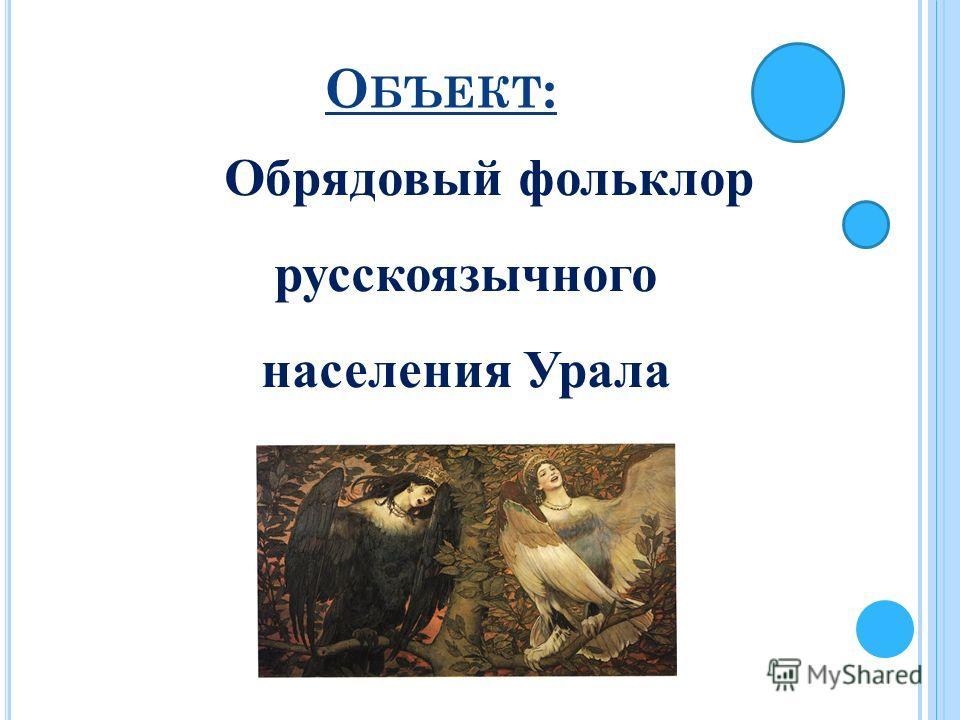 О БЪЕКТ : Обрядовый фольклор русскоязычного населения Урала
