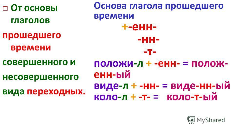 От основы глаголов прошедшего времени совершенного и несовершенного вида переходных. Основа глагола прошедшего времени +-енн- -нн- -т- положи-л + -енн- = полож- енн-ый виде-л + -нн- = виде-нн-ый коло-л + -т- = коло-т-ый
