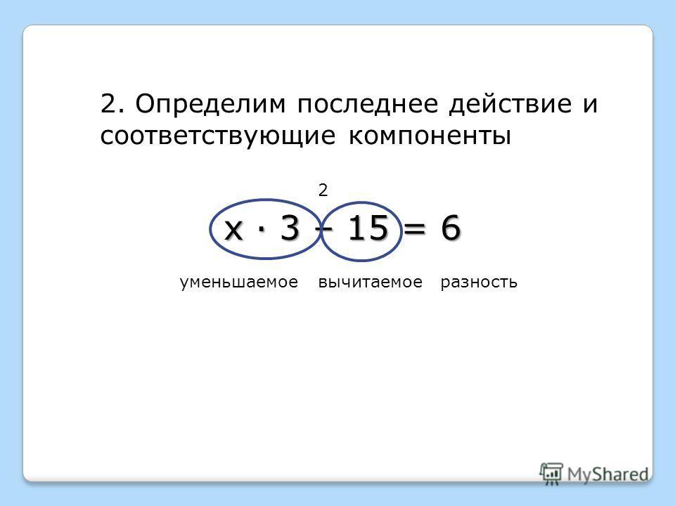 2 2. Определим последнее действие и соответствующие компоненты уменьшаемоевычитаемоеразность