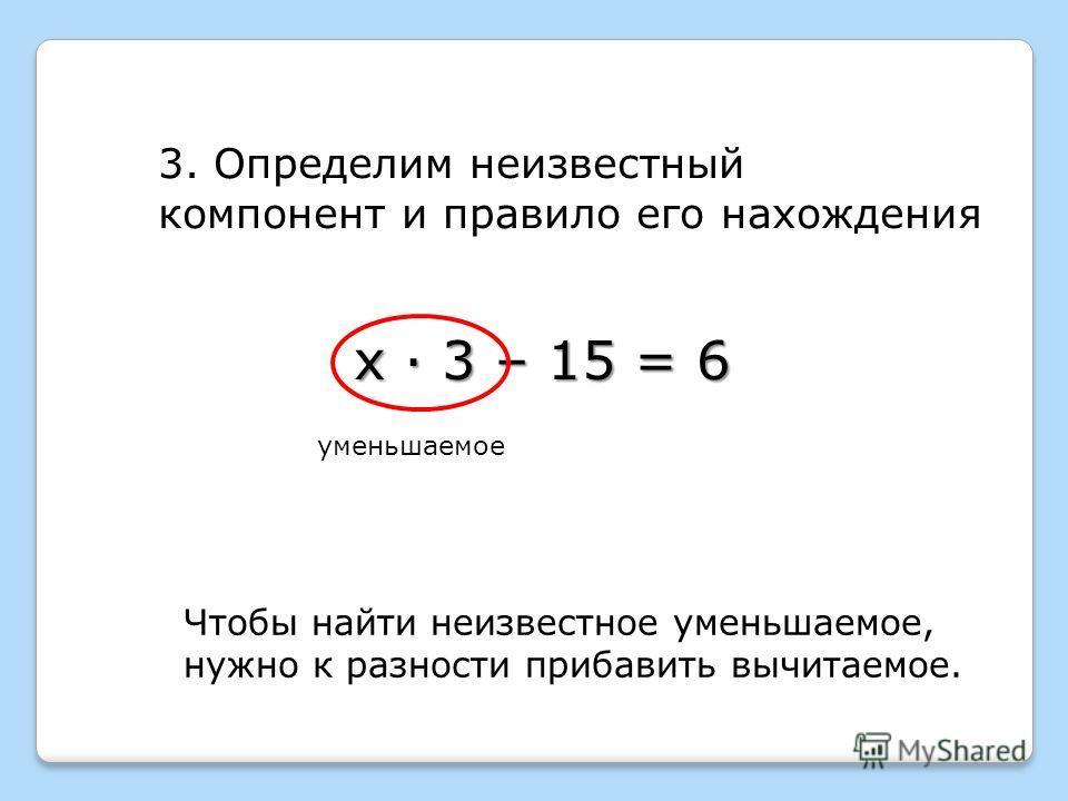 х · 3 – 15 = 6 3. Определим неизвестный компонент и правило его нахождения уменьшаемое Чтобы найти неизвестное уменьшаемое, нужно к разности прибавить вычитаемое.