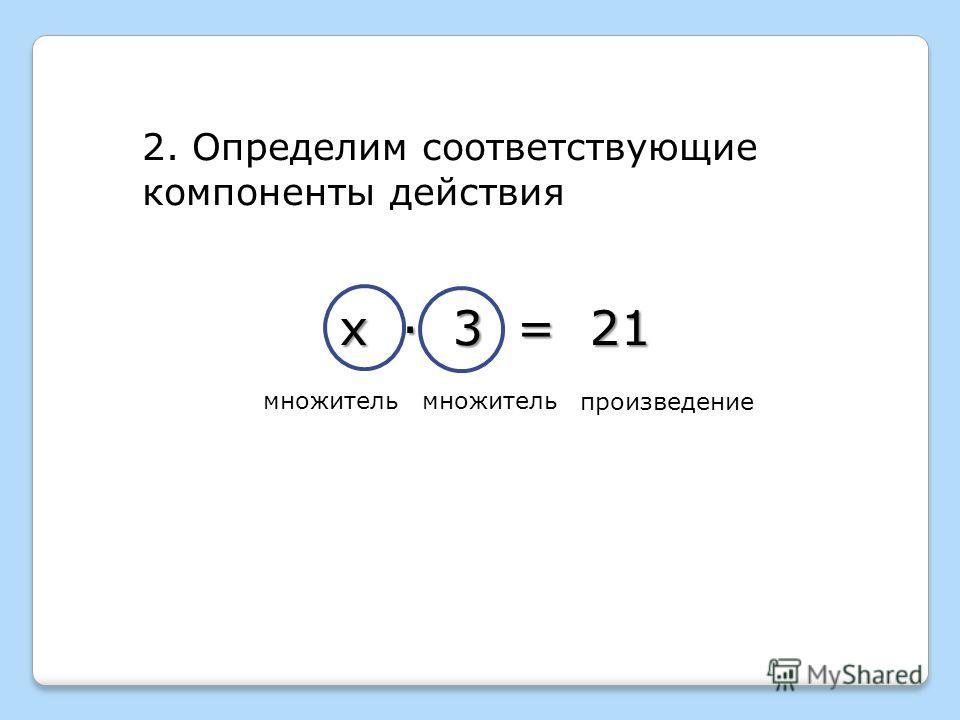 2. Определим соответствующие компоненты действия множитель произведение х · 3 = 21 множитель