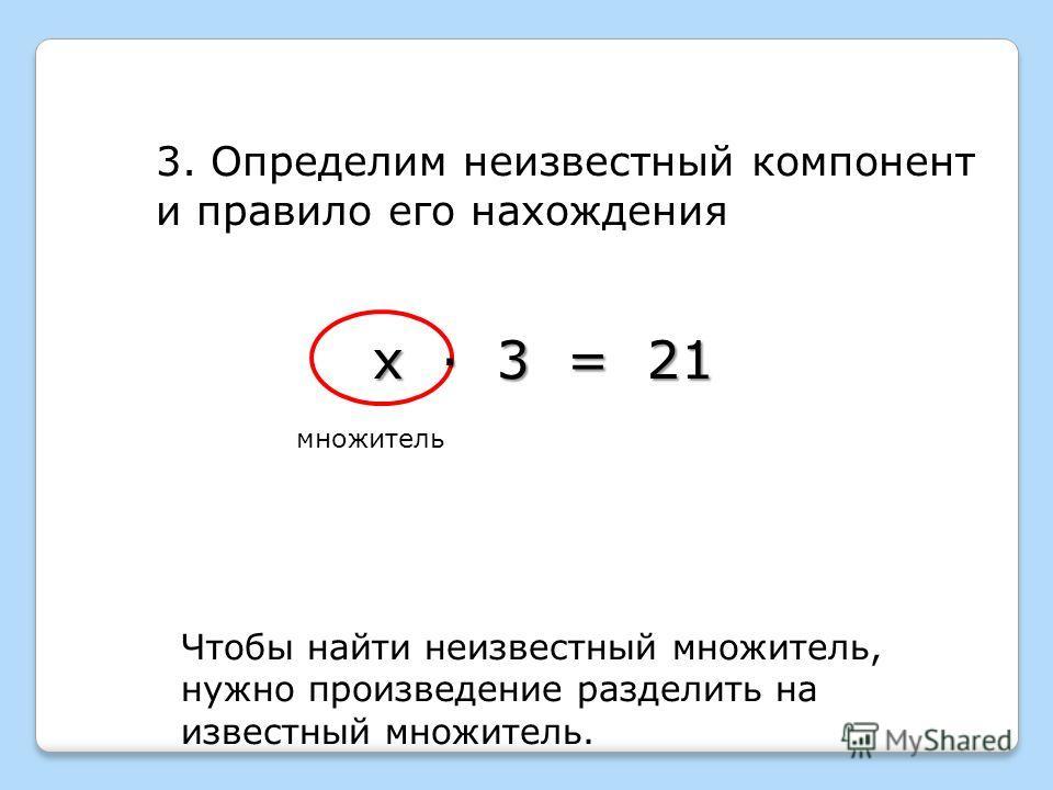 3. Определим неизвестный компонент и правило его нахождения Чтобы найти неизвестный множитель, нужно произведение разделить на известный множитель. х · 3 = 21 множитель