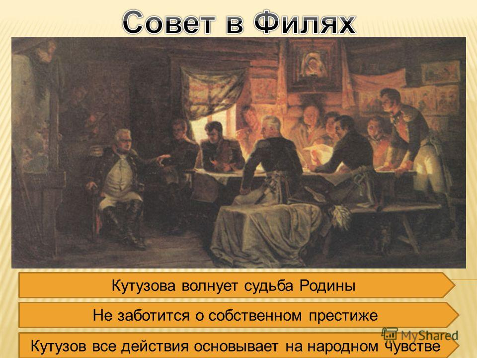 Кутузова волнует судьба Родины Не заботится о собственном престиже Кутузов все действия основывает на народном чувстве