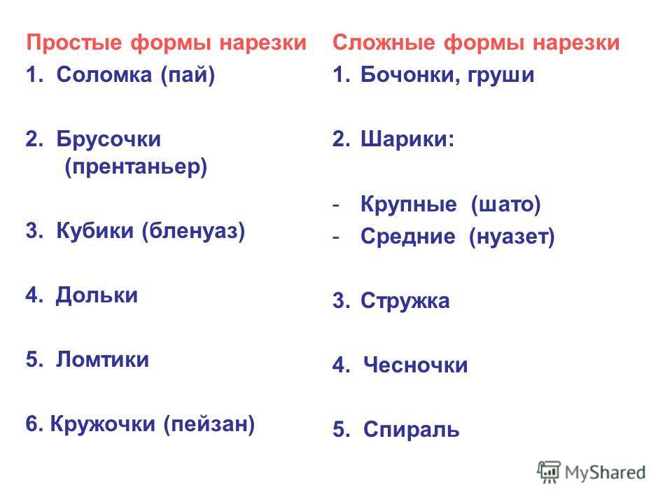 Простые формы нарезки 1. Соломка (пай) 2. Брусочки (прентаньер) 3. Кубики (бленуаз) 4. Дольки 5. Ломтики 6. Кружочки (пейзан) Сложные формы нарезки 1.Бочонки, груши 2.Шарики: -Крупные (шато) -Средние (нуазет) 3.Стружка 4. Чесночки 5. Спираль