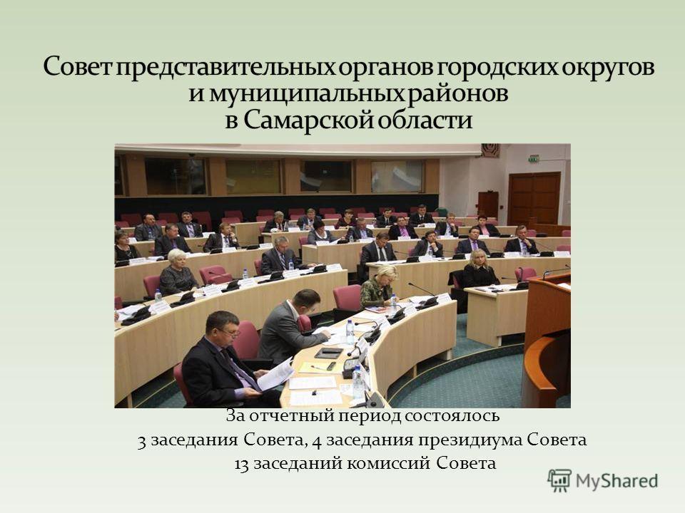 За отчетный период состоялось 3 заседания Совета, 4 заседания президиума Совета 13 заседаний комиссий Совета