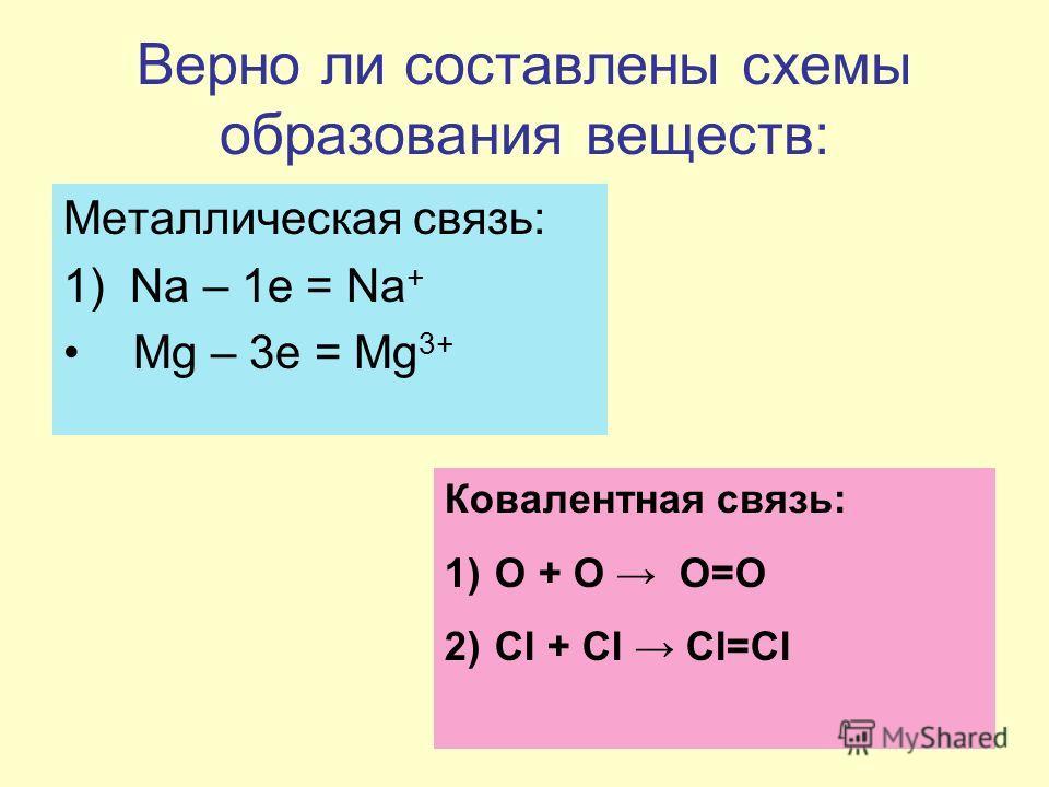 Верно ли составлены схемы образования веществ: Металлическая связь: 1) Na – 1e = Na + Mg – 3e = Mg 3+ Ковалентная связь: 1) О + О О=О 2) Сl + Cl Cl=Cl
