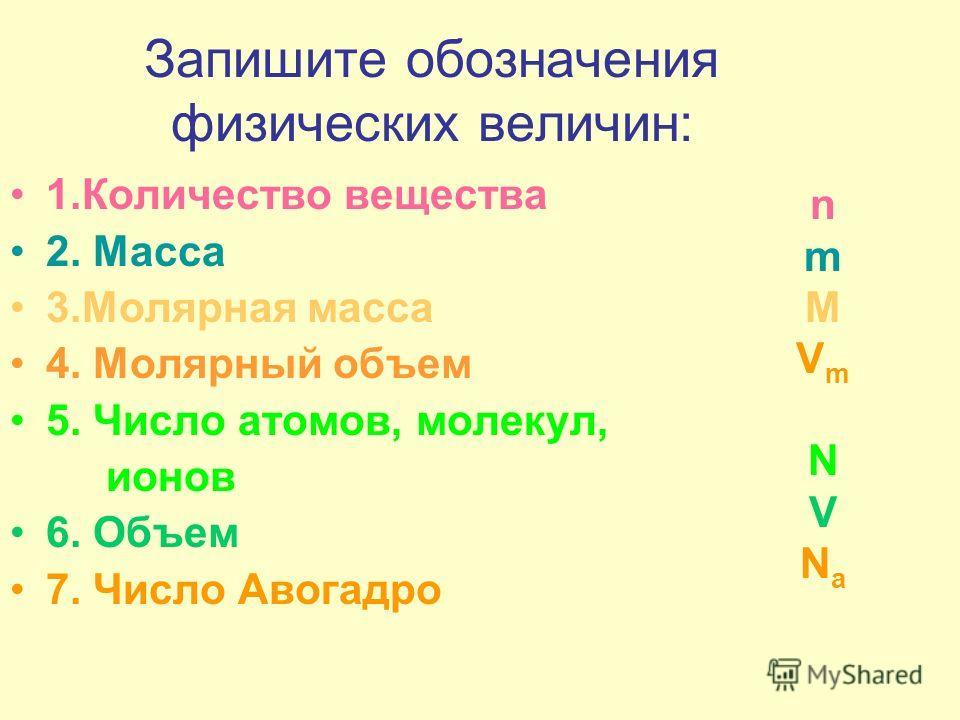 Запишите обозначения физических величин: 1.Количество вещества 2. Масса 3.Молярная масса 4. Молярный объем 5. Число атомов, молекул, ионов 6. Объем 7. Число Авогадро nmMVmNVNanmMVmNVNa