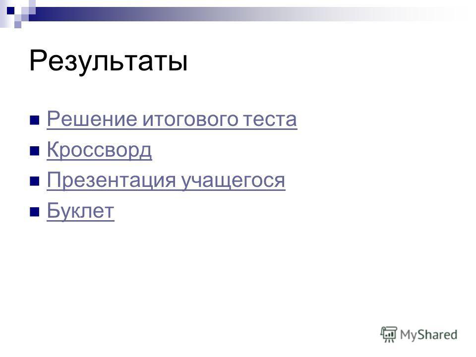 Результаты Решение итогового теста Кроссворд Презентация учащегося Буклет