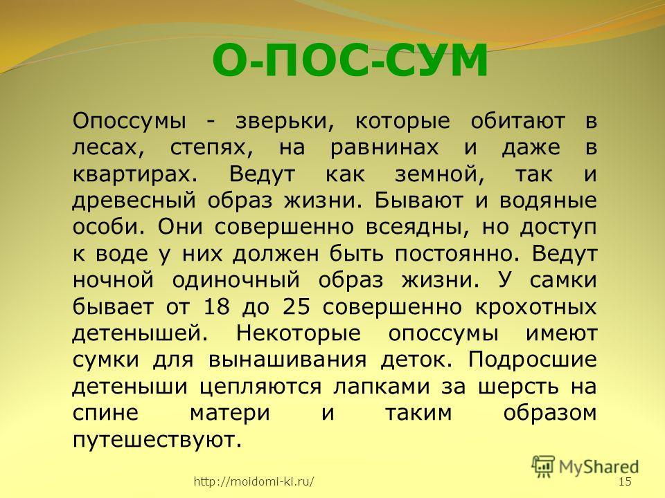 http://moidomi-ki.ru/ 15 О - ПОС - СУМ Опоссумы - зверьки, которые обитают в лесах, степях, на равнинах и даже в квартирах. Ведут как земной, так и древесный образ жизни. Бывают и водяные особи. Они совершенно всеядны, но доступ к воде у них должен б