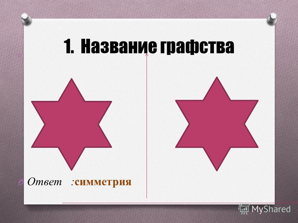 1. Название графства O O Ответ :симметрия