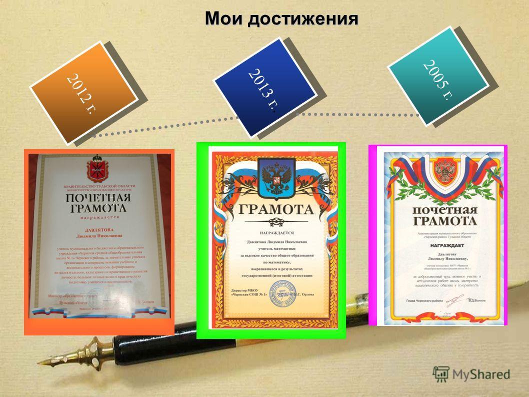 2013 г.. 2012 г. 2005 г. Мои достижения Текст