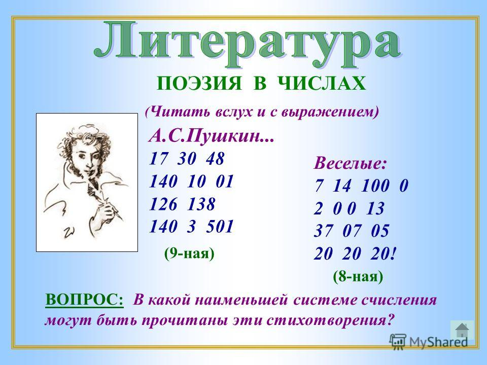 А.С.Пушкин... 17 30 48 140 10 01 126 138 140 3 501 Веселые: 7 14 100 0 2 0 0 13 37 07 05 20 20 20! ( Читать вслух и с выражением) ПОЭЗИЯ В ЧИСЛАХ ВОПРОС: В какой наименьшей системе счисления могут быть прочитаны эти стихотворения? (9-ная) (8-ная)