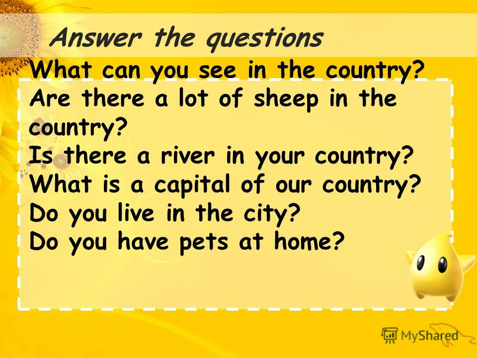 : 3 Answer the questions What can you see in the country? Are there a lot of sheep in the country? Is there a river in your country? What is a capital of our country? Do you live in the city? Do you have pets at home?
