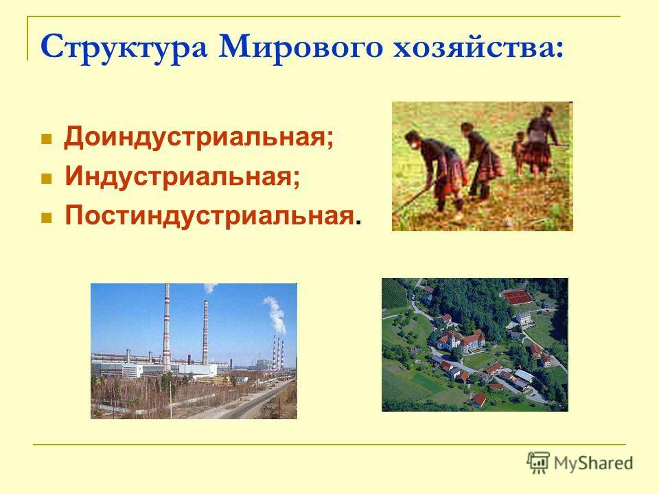 Структура Мирового хозяйства: Доиндустриальная; Индустриальная; Постиндустриальная.